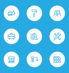 industry icons line style set with equipment vector image