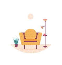 Interior design home modern sofa armchair plant vector