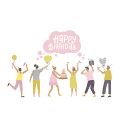 jumping people with presents balloons and bday vector image