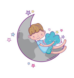 Kid dreaming at sky cartoon vector