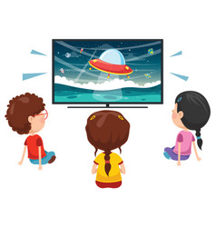 Kid watching tv vector
