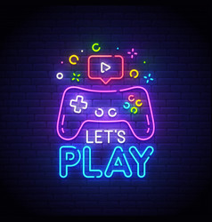 Lets play neon sign game logo neon vector