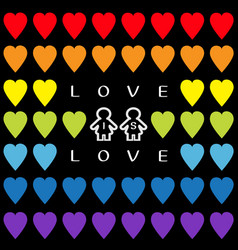 love is love text rainbow heart set gay marriage vector image