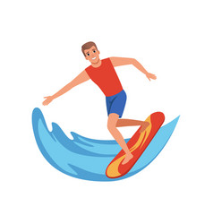 Male surfer riding a wave water sport activity vector