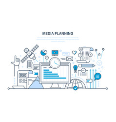 Media planning digital marketing research vector