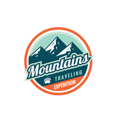 mountains traveling expedition - concept badge vector image