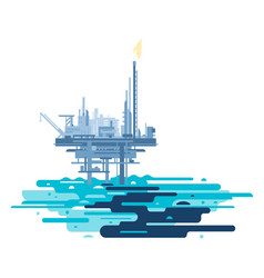 oil platform polluted the ocean vector image