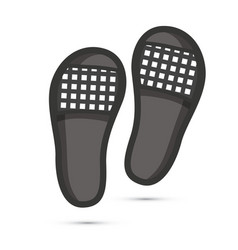 Pair black beach slippers isolated on white vector