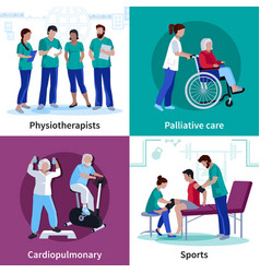 physiotherapy rehabilitation 4 flat icons square vector image vector image