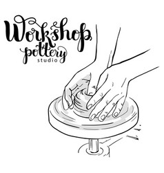 Pottery studio poster vector