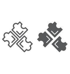 puzzle line and glyph icon leisure and game vector image