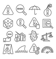 risk line icons set on white background vector image