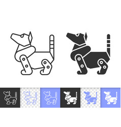 robot dog simple black line icon vector image