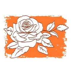 Rose pattern on orange and white background vector