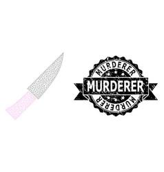 Rubber murderer ribbon watermark and mesh 2d knife vector