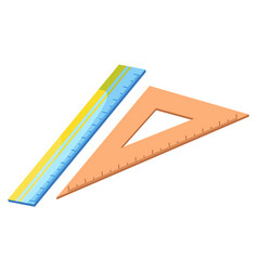 ruler for maths lessons school supplies closeup vector image