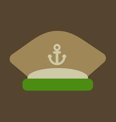 Sailors cap with an anchor captains hat vector