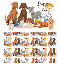 seamless background design with kids and dogs vector image