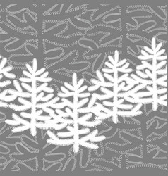 seamless pattern with christmas trees on a grey vector image