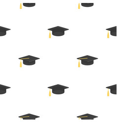 seamless pattern with graduation cap vector image