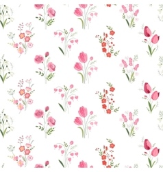 Seamless pattern with stylized cute flowers - vector