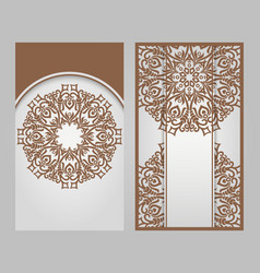set 2 ornamental nature cards vector image