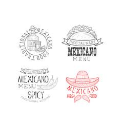 set 4 mexican restaurant logos hand vector image