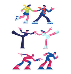 set figure and speed ice skating sports and vector image