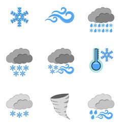 set of 9 weather icon weather label for web on vector image