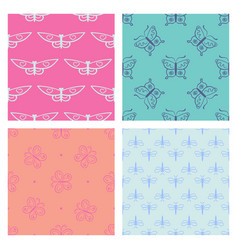 Set of abstract seamless pattern for girls clothes vector