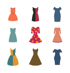 set of female dresses in a flat style vector image