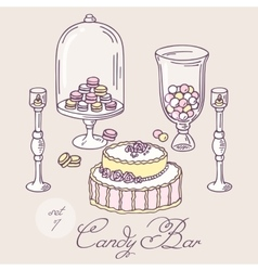 Set of hand drawn candy bar objects Bakery goods vector image