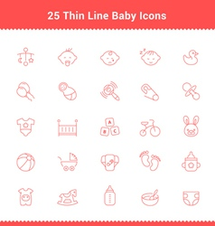 Set of Thin Line Stroke Baby Icon vector image