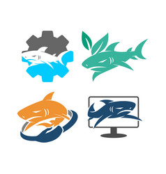 Shark gear leaf hand monitor logo design set vector