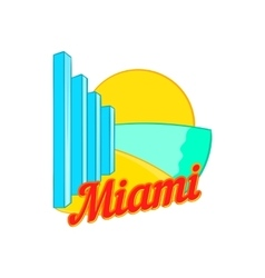 Sign Miami icon cartoon style vector image