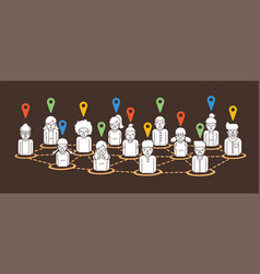 social network share location cartoon icon graphic vector image