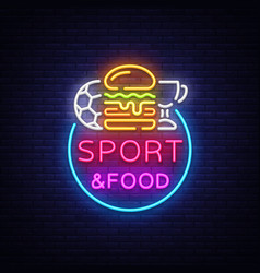 Sport food neon sign sports food logo in vector