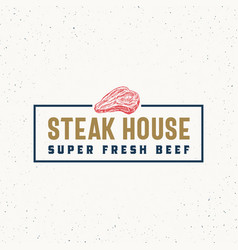 steak house vintage typography label emblem or vector image
