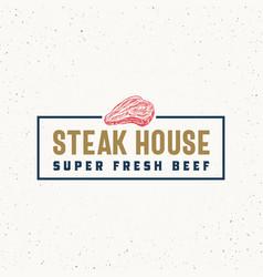 steak house vintage typography label emblem vector image