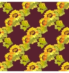 Sunflower garland seamless pattern on dark vector