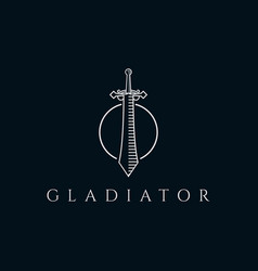 sword in circle logo design template vector image