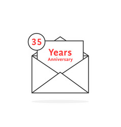 Thin line 35 years anniversary logo like open vector