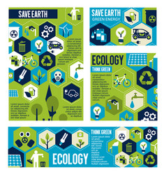 Think green eco banner with ecology flat symbol vector
