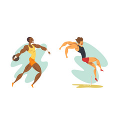 track and field athletes in action set long jump vector image