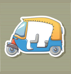 tuk tuk sticker icon cartoon style vector image