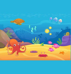 Underwater life aquarium cartoon fish ocean and vector