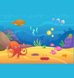 underwater life aquarium cartoon fish ocean vector image