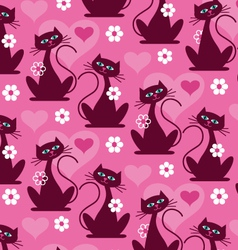 Valentine cats and hearts pattern vector