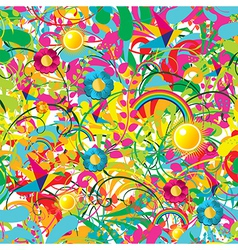 Vibrant floral summer pattern vector image
