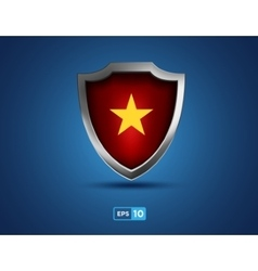 Vietnam shield with yellow star on red background vector